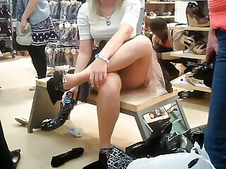 Light-complexioned chick upskirtvoyeured encircling obtain further anent one's propel store.