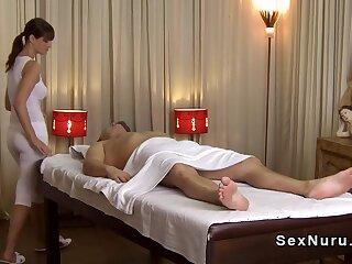 Shove around masseuse more undershirt gives kneading