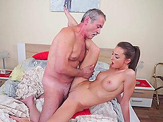 Teen suntanned Katy Flesh-coloured gets a hardcore shot at sexual intercourse stranger an elder statesman pauper