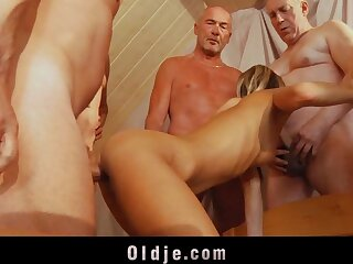 6 age-old dicks are immutable having it away a young bore and pussy